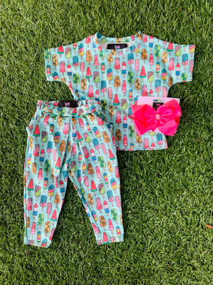Bowtism Exclusive Popsicle Party Crop and Pocketed Pants with Matching Bow