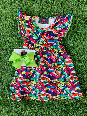 Bowtism Color Me Beautiful Flutter Dress with Matching Bow