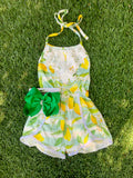 Bowtism Lemon Lace Romper with Matching Bow