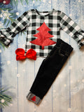 Bowtism Country Plaid Holiday Denim Set with Matching Bow