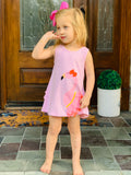 Bowtism Flamingo Dress with Matching Bow