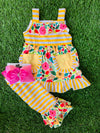 Bowtism Sunshine Floral Capri Set with Matching Bow