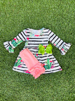 Bowtism Cactus Floral Shorts Set with Matching Bow