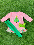 Bowtism Pretty in Pink Holiday Pants Set with Matching Bow