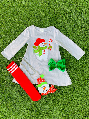 Bowtism Snowman Dress with Matching Purse & Bow