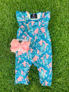 Bowtism Exclusive Palm Beach Romper with Matching Bow