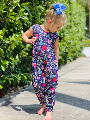 Bowtism Exclusive London Floral Romper with Matching Bow