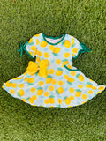Bowtism Easy Peasy Lemon Squeezy Twirl Dress with Matching Bow