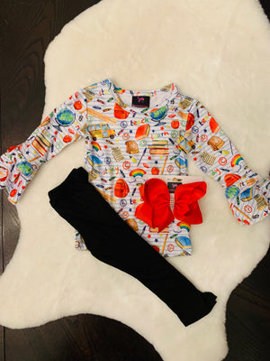 Bowtism School Squad Flared Pants Set with Matching Bow