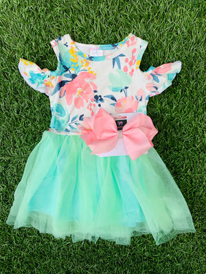 Bowtism Watercolor Floral Tulle Dress with Matching Bow
