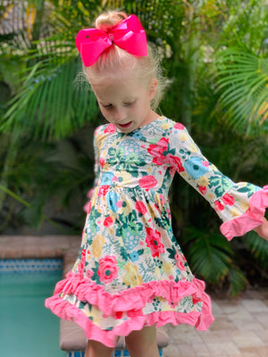 Bowtism Boho Ruffle Dress with Matching Bow