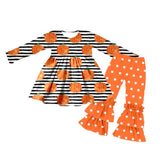 Bowtism Fall Pumpkin Pants Set with Matching Bow