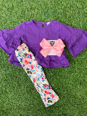 Bowtism Purple Floral Ruffle Pants Set with Matching Bow