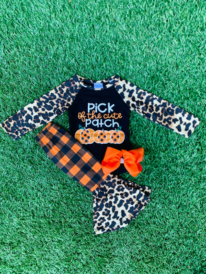 Bowtism Pick of the Patch Flare Pants Set with Matching Bow