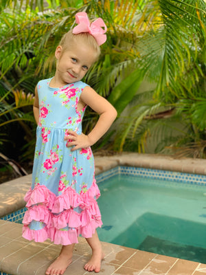Bowtism Sweet Ruffle Floral Dress with Matching Bow