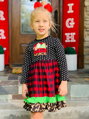 Bowtism Plaid Holiday Puppy Dress with Matching Bow