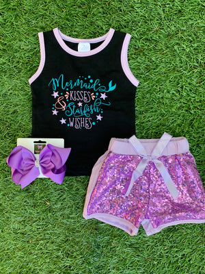 Bowtism Ultimate Glitter Mermaid Shorts Set with Matching Bow