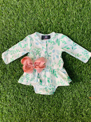 Bowtism Exclusive Eucalyptus Romper with Matching Bow