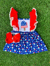 Bowtism July 4th Popsicle Dress with Matching Bow