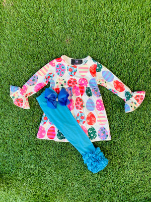 Bowtism Exclusive Egg Hunt Pants Set with Matching Bow