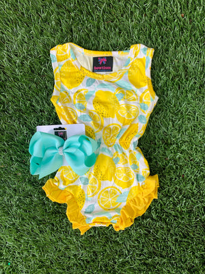 Bowtism Lemon Sweetheart Romper with Matching Bow