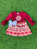 Bowtism Holiday Elk Ruffle Dress with Matching Bow