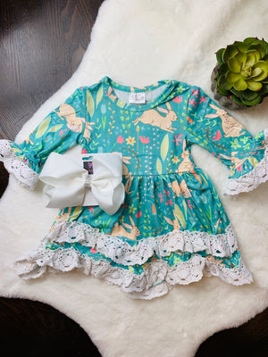 Bowtism Spring Lace Dress with Matching Bow