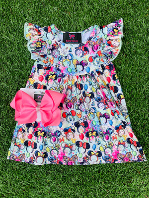 Bowtism Take me to Disney! Dress with Matching Bow