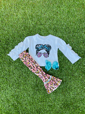 Bowtism Cool Girl Flare Pants Set with Matching Bow