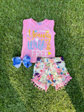 Bowtism Wild & Free Shorts Set with Matching Bow