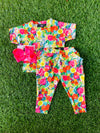 Bowtism Exclusive Vibrant Floral Pocket Crop Pants Set with Matching Bow
