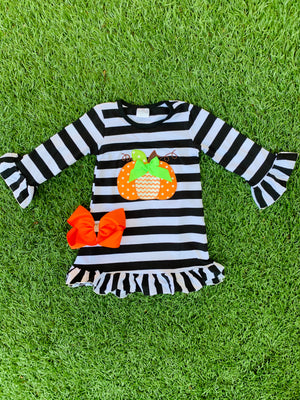 Bowtism Striped Pumpkin Dress with Matching Bow