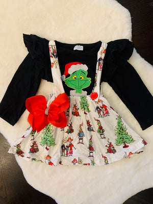 Bowtism The Grinch Jumper with Matching Bow