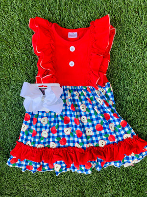 Bowtism Red Apple Ruffle Dress with Matching Bow