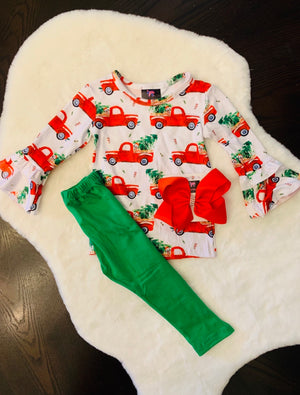 Bowtism Holiday Red Truck Pants Set with Matching Bow