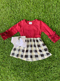 Bowtism Plaid Fall Ruffle Sleeve Dress with Matching Bow