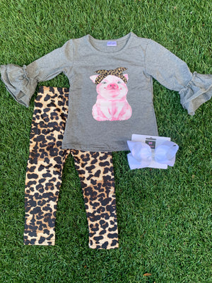 Bowtism Miss Little Piggy Flare Shirt with Pants and Matching Bow