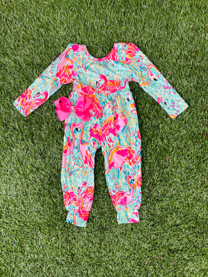 Bowtism Exclusive Flamingo 🦩 Flock Romper with Matching Bow