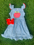 Bowtism Gingham Apple Dress with Matching Bow