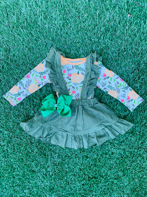 Bowtism Rustic Pumpkin Jumper with Matching Bow