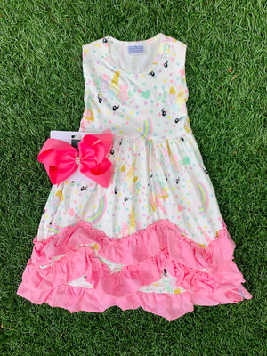 Bowtism Unicorn Magic Ruffle Dress with Matching Bow