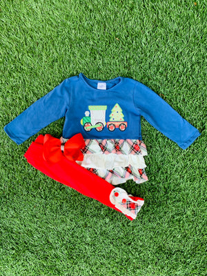 Bowtism Holiday Train Ruffle Pants Set with Matching Bow