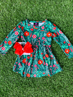 Bowtism Holly Holiday Stretch Dress with Matching Bow