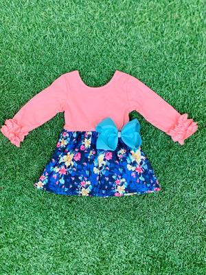 Bowtism Hello Spring Ruffle Dress with Matching Bow