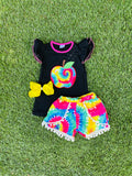 Bowtism School Rocks Shorts Set with Matching Bow
