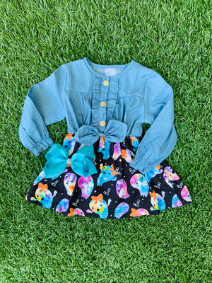 Bowtism Ghost Denim Dress with Matching Bow