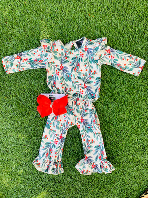 Bowtism Exclusive Holly Leaf Romper with Matching Bow