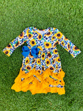 Bowtism Sunflower Dream Ruffle Dress with Matching Bow