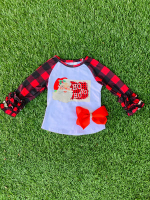 Bowtism Ho Ho Ho Plaid Ruffle Shirt with Matching Bow