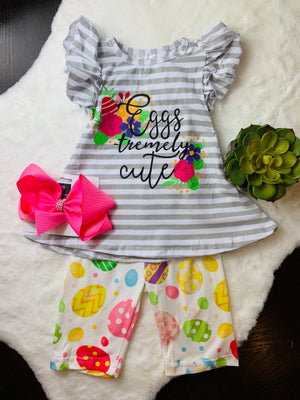 Bowtism Eggstremly Cute Shorts Set with Matching Bow